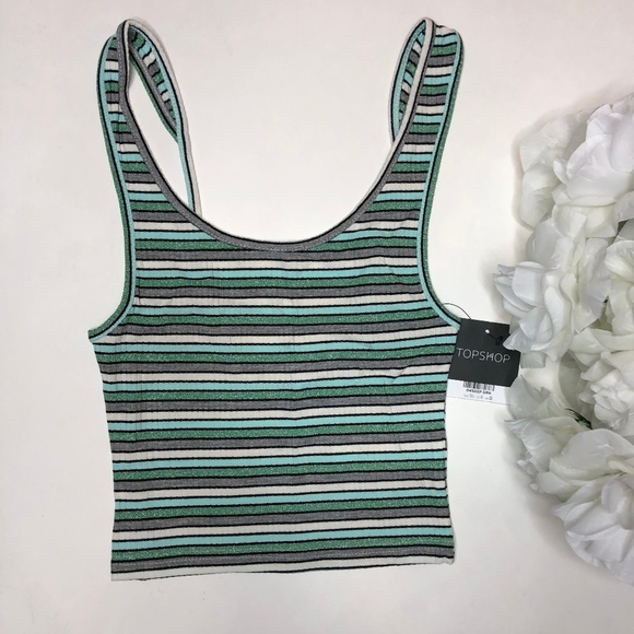 Topshop Tops - NWT TopShop Striped Crop Tank Size US 4